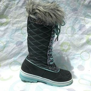 Justice Fur Lace Quilted Tall Snow Boots Youth 1M